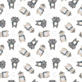 Симпатичные бесшовные модели с коала и медведь