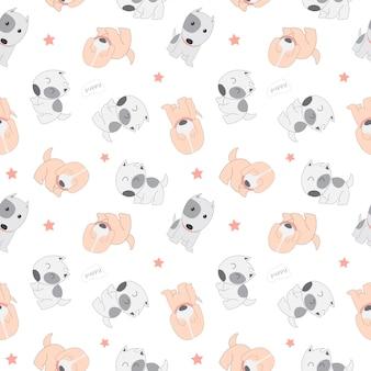 子犬犬とかわいいのシームレスパターン