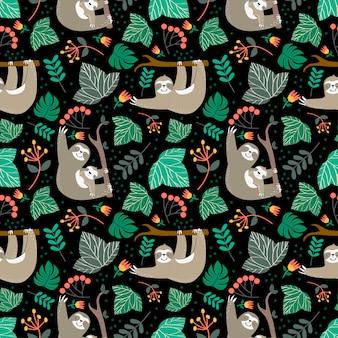 Цветочный узор с концепцией ленивца на черном фоне