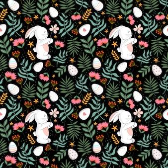 植物、ナマケモノ、花と花のシームレスパターン