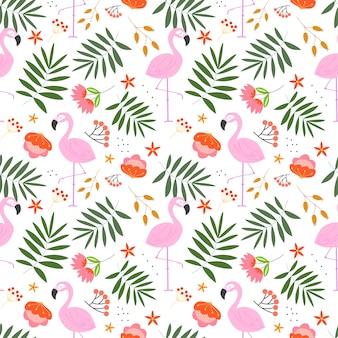Летний цветочный узор с растением, цветами и фламинго в белом