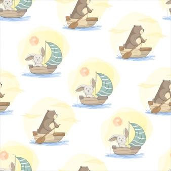 Детский детский рисунок милого медведя, кролика на деревянной лодке