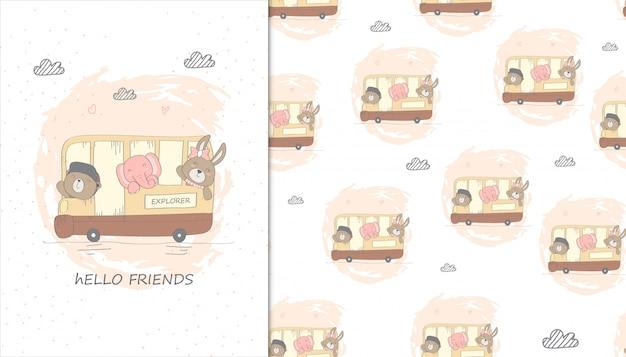 Иллюстрация милый медведь, кролик и слон на автобусе и детской картины