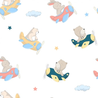 Детский детский рисунок милого медведя, кролика на самолете