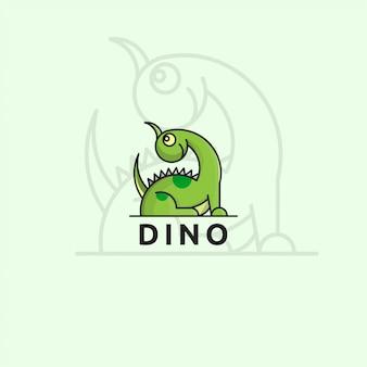 恐竜のコンセプトのアイコンロゴ