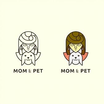 Значок логотип с концепцией леди и собаки