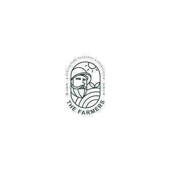 Значок логотипа премиум фермер с линией искусства