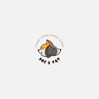 Иконка логотипа кот и собака