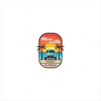 Иконка логотип, простая иллюстрация классического автомобиля