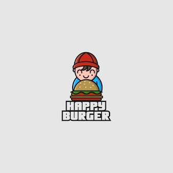 Логотип маленький мальчик и гамбургер