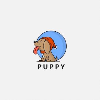 舌を突き出して子犬のロゴ