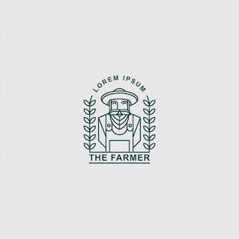Иконка логотип старого фермера с линией искусства