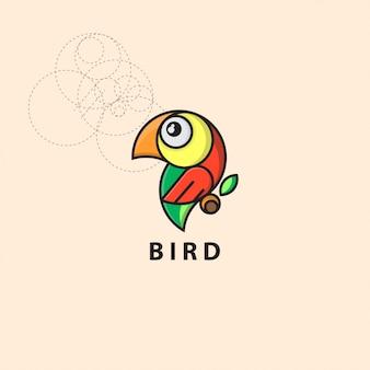 グリッドスタイルのアイコンロゴ鳥