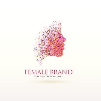 ドットのパーティクルで作られた女性の顔のロゴのデザイン