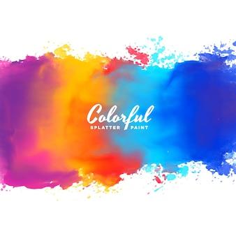 多くの色で水彩の背景の手塗りのスプラッシュ