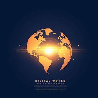 中央ライト効果を持つクリエイティブな金色の地球