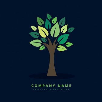 創造エコ緑の木のロゴ