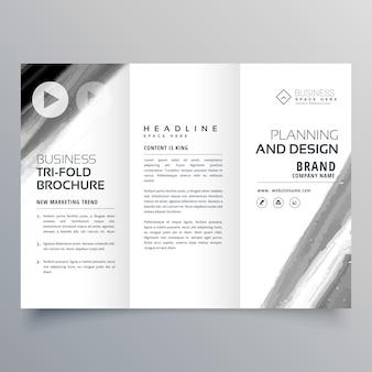 黒塗装ストロークを使用したトリフォールドパンフレットベクトルテンプレートデザイン
