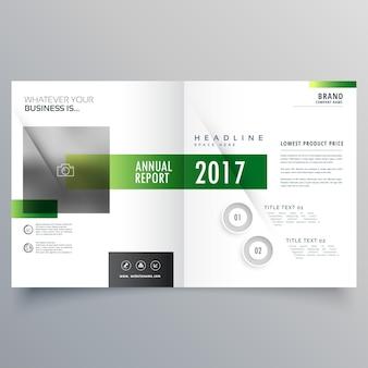 エレガントな緑の二つ折りのパンフレットまたはマガジンカバーページデザインテンプレート