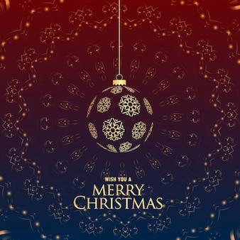 Роскошный премиум веселый рождественский приветствие с подвесными шарами