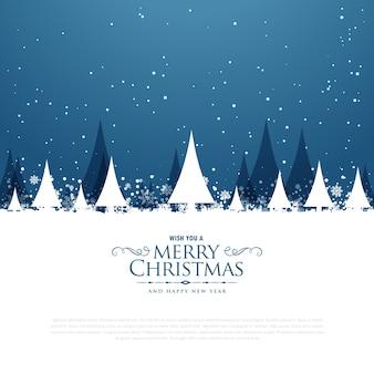 木と落ちる雪とメリークリスマスの冬の風景のシーン
