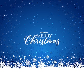 エレガントなクリスマスの青い背景と雪片