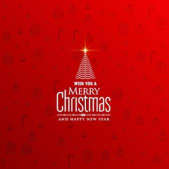 創造的な木のデザインとエレガントな赤いクリスマスの背景