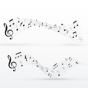 音符の波の背景のデザイン