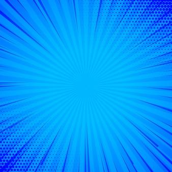 Синий комический фон с линиями и полутоновый