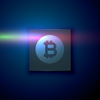 ダークブルー技術背景のデジタルビットコインシンボル