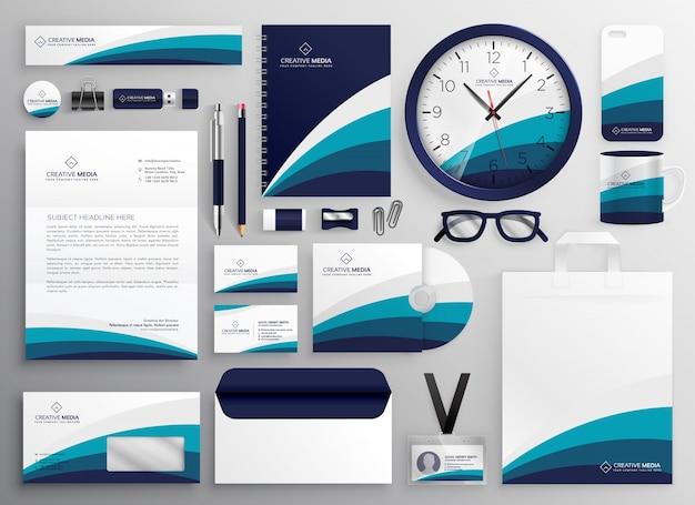 あなたのブランドのために設定された近代的なクリーンビジネス文房具