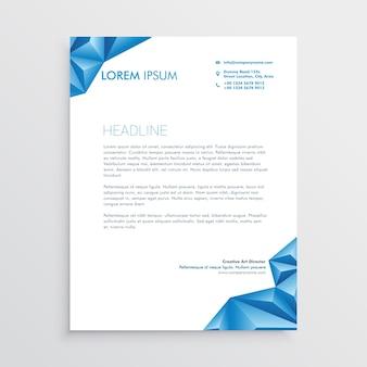 抽象的な青い三角形のレターヘッドデザイン