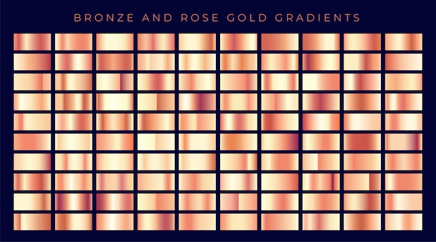 バラの金や銅の勾配の巨大なコレクション