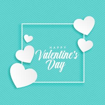 バレンタインデーの白い心の青い背景