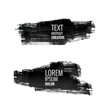 Набор абстрактных черных акварельных штрих-баннеров