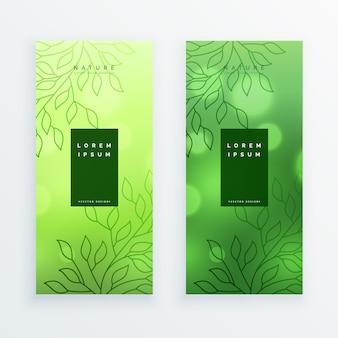 Удивительные зеленые листья вертикальные баннеры