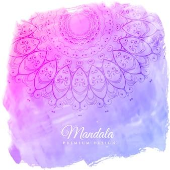 マンダラアートで美しい水彩の背景