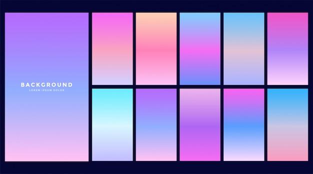 ホログラムグラデーションデザインのセット