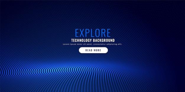 青い粒子メッシュの背景デザイン