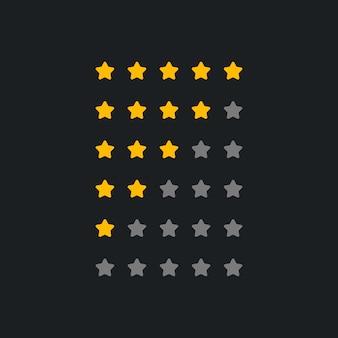 暗いテーマの評価シンボルのセット