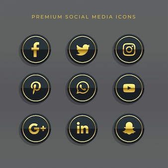 ゴールデンソーシャルメディアのアイコンとロゴのプレミアムセット