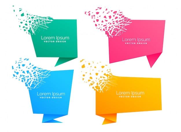パーティクル効果で空の折り紙のチャットシンボル