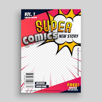 Дизайн шаблона обложки комиксов