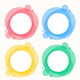 円形の丸いフレームのカラフルなセット