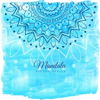 マンダラアートと青い水彩の背景