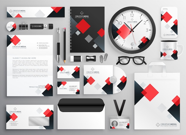 創造的なビジネス文房具担保は、赤のテーマで設定
