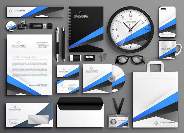 現代のビジネス文具セットデザイン