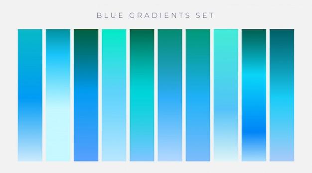 青い勾配の背景のコレクション