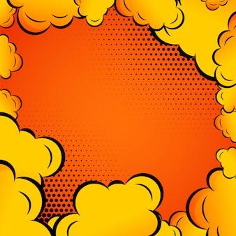 オレンジの背景にコミックの雲