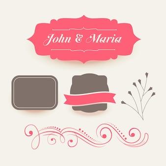 ピンクの結婚式の装飾の要素のコレクション
